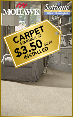 Carpet starting at $3.50 sq.ft. installed during the National Gold Tag Flooring Sale Ultimate Flooring & Paint in Dexter!